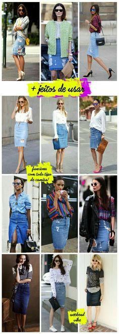 So many ways to wear a denim skirt Maong Skirt Outfit, Demin Skirt, Jean Skirt Outfits, Denim Outfit, Denim Pencil Skirt Outfit, Work Fashion, Denim Fashion, Modest Fashion, Fashion Looks