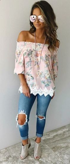 #summer #outfits Pink Floral Off The Shoulder Top   Destroyed Skinny Jeans   Grey Open Toe Booties // Shop this exact outfit in the link