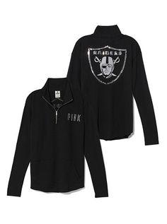 Oakland Raiders Bling Half Zip Pullover PINK