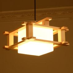 Modern brief wood box Pendant light glass lampshade for dinning room and restaurant with E27 bulb lamp