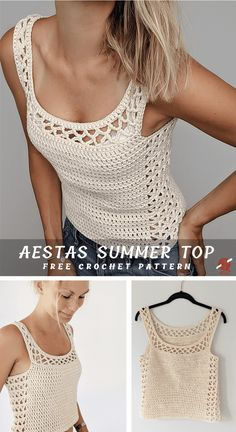 Aestas Crochet Summer Top Aestas Crochet Summer Top,Crochet Chic Fashion Aestas is a Latin word and means 'summer'. This is a beautiful crochet top, great idea for summer. Made in breathable worsted cotton. Blouse Au Crochet, Débardeurs Au Crochet, Beau Crochet, Pull Crochet, Mode Crochet, Single Crochet Stitch, Crochet Woman, Crochet Stitches, Crochet Free Patterns
