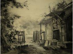 Рисунки углем пейзаж 5