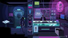 VirtuaVerse released on Steam and GOG. Support this cyberpunk pixel art adventure from Finnish indie game developer Theta Division Games. Arte Cyberpunk, Cyberpunk City, Cyberpunk Anime, 8 Bits, Vaporwave, Blade Runner, Game Art, Rick Deckard, Pixel Art Background