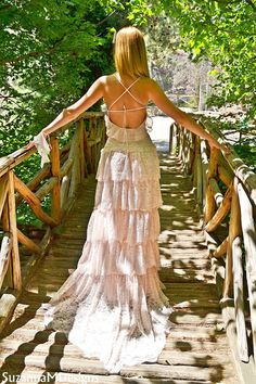 Pink Lacen Bohemian Wedding Dress / Bridal Wedding Gown / Handmade by SuzannaM Designs