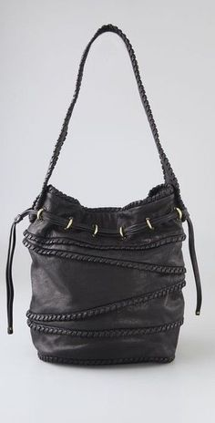 985939393d KOOBA BRYCE BUCKET BAG  575 Black Leather Whipstitched Drawstring Boho Hobo