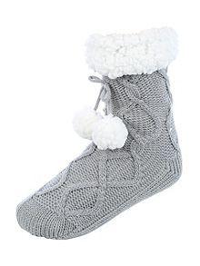 Cable Knit Slipper Socks