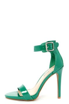 Check it out from Lulus.com! The most pertinent shoe this year is definitely the Perton, with it's sleek vegan patent leather toe band and chic, minimal silhouette! The Anne Michelle Perton 17 Emerald Green Patent Single Strap Heels sport a matching emerald heel cup and a wraparound ankle strap with square silver buckle (and hidden elastic). Wrapped, 4.5