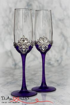 Personalized Champagne Flutes Wedding Toasting Glasses