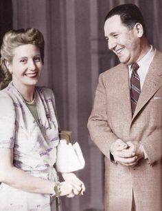 Eva Duarte and Sec'ty of Labour Colonel Juan Peron met on 22 January 1944 at a gala he held at Luna Park Stadium in Buenos Aires to benefit earthquake victims. President Of Argentina, My Love Story, Famous Couples, Colonel, Ernest, Cristina, Simpsons, Famous Faces, Historical Photos