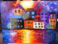 My newest painting! My second attempt at buildings. What do you think? Name suggestions?    This is oil on 22x28 canvas