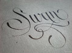 Swan calligraphy by Heidi Sorensen.