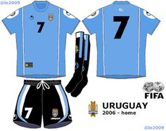 Uruguay home kit for the 2006 World Cup Finals. 2006 World Cup Final, Fifa, Wetsuit, Sports, Uruguay, Scuba Wetsuit, Hs Sports, Diving Suit, Excercise