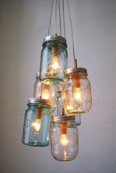 Sapphire Ocean - Mason Jar Chandelier $225.00, via Etsy. - 3 pint sized antique blue mason jars and 3 clear pint mason jars