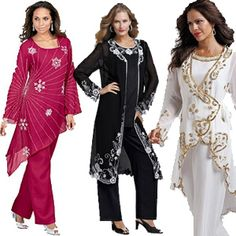 Plus Size Formal Pant Suits and Plus Size Cocktail Pants Suits are a great option if you need to go to a dressier event, a dressy wedding or even for a cruise.  There are great options that range from classic styles to those with sequins and glamour.  I love the ones with beading, sequins and flowing duster length jackets.  While there is not an abundance of choices, there are some really pretty and elegant ones available.