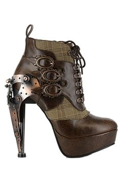 Hades Steampunk Oxford Brown Ankle Boots