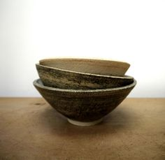 rough and smooth stacked bowls