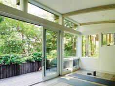 Garage yoga studio, open window/doors