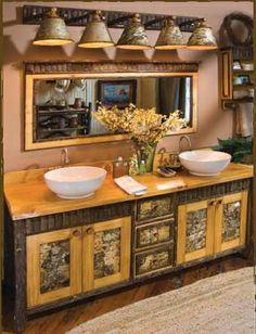Love the inserts on the foors/drawers of this rustic bathroom vanity. Could do that with birch on mine...