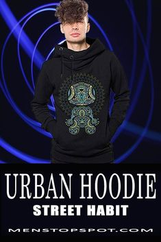 Heavy black funnel neck cotton pullover hoodie for men with front print graphics, perfect for those chili evenings out in the urban lights. Plain Shirts, Old T Shirts, Latest Mens Fashion, Urban Fashion, Fashion 101, Work Casual, Men Casual, Pinterest For Men, Urban Lights
