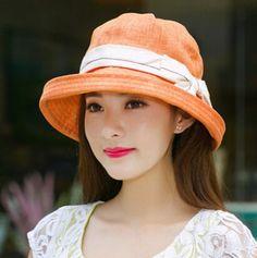 Fashion bow bucket hat for women linen package sun hats outdoor wear