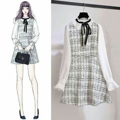 Korean Fashion – How to Dress up Korean Style – Designer Fashion Tips Ulzzang Fashion, Asian Fashion, Look Fashion, Hijab Fashion, Fall Fashion, Fashion Drawing Dresses, Fashion Dresses, Mode Kawaii, Dress Sketches