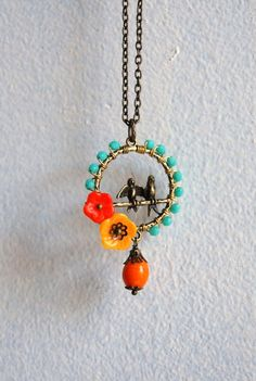 Birds on a wire necklace by yotldesigns on Etsy, $40.00