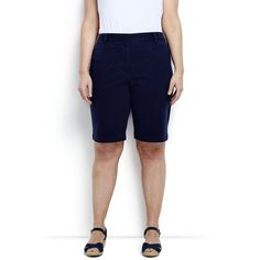36e9baba311 Lands  End Women s Plus Size Mid Rise 10 Chino Bermuda Shorts ( 49) ❤ liked  on Polyvore featuring shorts