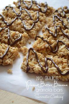 No Bake Peanut Butter Banana Granola Bars - Sarcastic Cooking