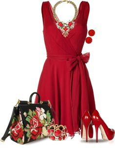 """Floral  Red"" by yasminasdream on Polyvore"