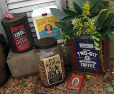 make everything look like an old time coffee canister. labels to print