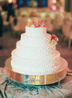 photo: Clary Pfeiffer; Chic simple wedding cake; Click to see more gorgeous details from this wedding