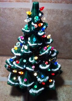 "Vintage Ceramic Frosted Christmas Tree with Lights 17"" Tall, Just In Time !!!"