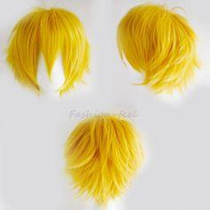 2016 Fashion Boys Girls New Style Short Hair Wigs Heat Resistant Yellow Colour Full Head Wig Wonderful Anime Cosplay Fancy Dress