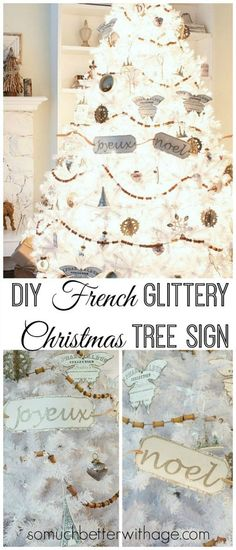 French Glittery Christmas Tree Sign + Silhouette Promo | So Much Better With Age