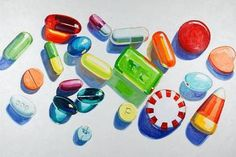 Kelly Reemtsen, Pills and Candy painting Drugs Art, Or Noir, Turbulence Deco, Art And Craft, Damien Hirst, Wayne Thiebaud, A Level Art, Gcse Art, Art School