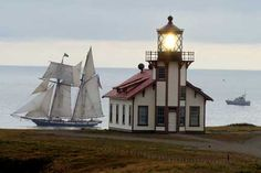 Tall Ship 'Lynx' and Coast Guard Boat Passing Point Cabrillo Lighthouse -- Mendocino, California USA California Coast, Northern California, Coast Guard Boats, Mendocino Coast, Mendocino California, Fort Bragg, Beacon Of Light, Tall Ships, National Parks