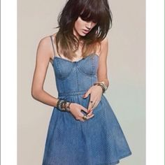 🔥FLASH SALE🔥🌷FREE PEOPLE🌷 denim dress This little blue denim dress has the tiniest white dots sewn into the fabric. I got this dress to wear to my son's graduation. It was adorable with little boots. I only wore this that one time, so it is in perfect condition. Has a detailed bodice, stretch back to accommodate different sizes and a side zipper. Cute Cute Cute!! Reasonable offers are welcome. If you love FP check out my closet!! Free People Dresses Mini