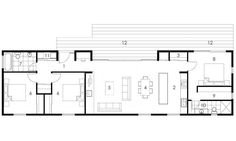 Do you need a few pattern insights? Listed here are manageable architecture plan inspirations. Rectangle House Plans, Narrow House Plans, Barn House Plans, House Floor Plans, Modern Barn House, Modern House Plans, Small House Design, Modern House Design, Long House