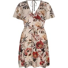 Cream floral print cape tea dress $84.00