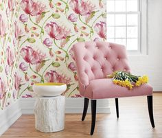 i love the tree stump painted white:)pink tufted chair + Tuileries wallpaper from Anna French ❤ ❤ Anna French Wallpaper, Tufted Chair, Chair Cushions, French Fabric, Pink Room, Interior Exterior, Fine Furniture, Luxury Furniture, Cottage Chic