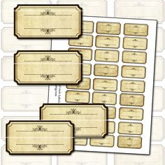 Antique Sepia Blank Spice Labels digital collage sheet by magicpug