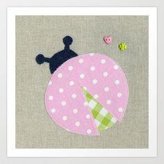 Pink Lady Bug | Art Print - Nursery room decor, nursery art prints, baby nursery decor, kids wall art, girls room, children room - Available on Society6.com