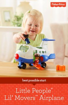 Playtime can be about trying on new roles, and the Little People® Lil' Movers Airplane from Fisher-Price is a toddler toy that prompts little ones to let their imaginations soar and pretend they're flying the plane, taking a trip, and doing all the fun things they can imagine. For ages 1 – 5 years.