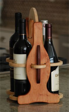 Wooden Wood Wine Bottle Glasses Caddy Carrier Tote by Woodpecking