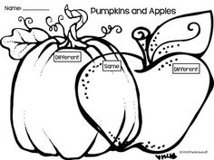 A fun way to compare pumpkins and apples, mini intro to Venn diagrams. First Grade Science, Kindergarten Science, Science Classroom, Classroom Activities, Speech Language Therapy, Speech And Language, Speech Therapy, Language Arts, Speech Pathology