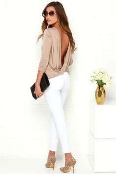 Chic Light Brown Top - Long Sleeve Top - Open Back Top - $29.00 & white jeans!!!