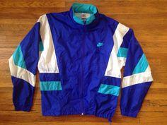 Vintage 90's Nike Blue/Teal/White Hooded Windbreaker Jacket - (Large)