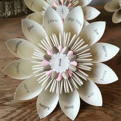 Origami wedding table seating plan UK pink by PaperBouquetsUK