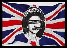 1977- Jamie Reid. La imagen de la reina Isabel II mancillada en diferentes formas se convirtió en un icono de la banda de punk rock haciendo uso de ella en numeroso material promocional. Y en la actualidad, estas portadas son en auténticos símbolos del punk rock y de los Sex Pistols en particular.