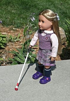 This is too adorable for words! An enterprising mother has made a blind cane for her visually-impaired daughter's American Girl doll. How cool is that?? She's selling it for $10 on her etsy site, a bargain when you consider what most AG accessories can run you.